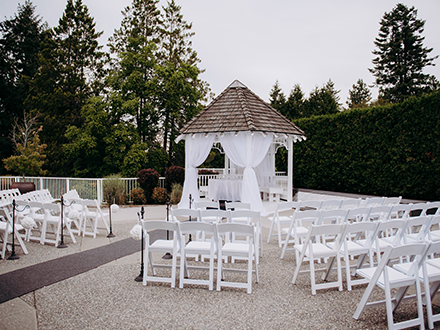 Outdoor garden gazebo with chairs for Langley wedding cermonies